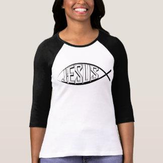 Jesus Fish: Women Sleeve Raglan T-Shirt