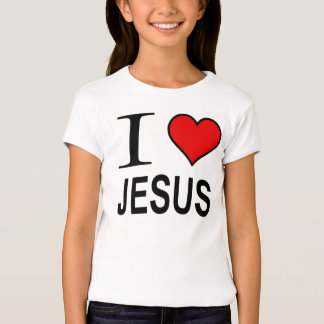 Jesus gifts I love Jesus logo on fitted babydoll T-Shirt