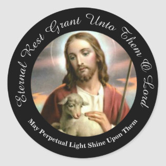 JESUS GOOD SHEPHERD LAMB ETERNAL MEMORY CLASSIC ROUND STICKER