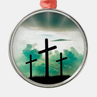 Jesus Has Risen (Three Crosses) Metal Ornament