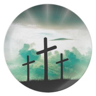 Jesus Has Risen (Three Crosses) Plate