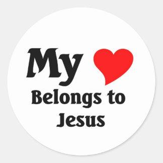 Jesus Heart Classic Round Sticker