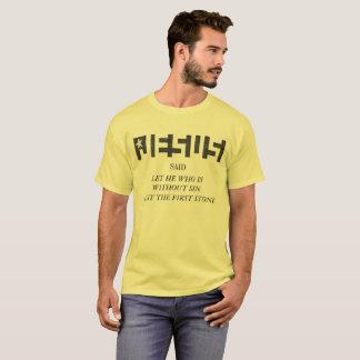 Jesus HIDDEN  STAR logo CAST THE FIRST STONE T-Shirt