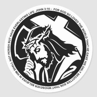 Jesus holding Cross with John 3:16 quote Classic Round Sticker