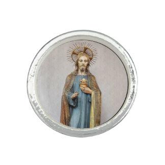Jesus Holding Golden Sacred Heart