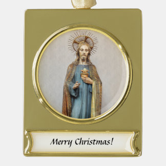 Jesus Holding Golden  Sacred Heart Gold Plated Banner Ornament