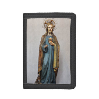 Jesus Holding Golden Sacred Heart Tri-fold Wallets