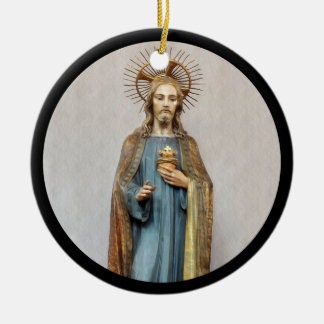 Jesus Holding Sacred Heart Ceramic Ornament