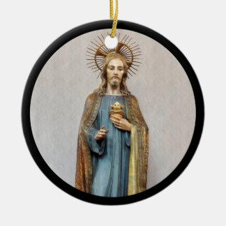 Jesus Holding Sacred Heart Round Ceramic Decoration