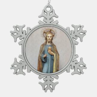Jesus Holding Sacred Heart Snowflake Pewter Christmas Ornament
