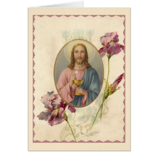 Jesus holding the Eucharist & Chalice Card