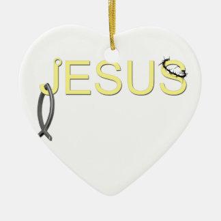 Jesus hook And Fish Ceramic Heart Decoration