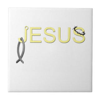 Jesus hook And Fish Small Square Tile