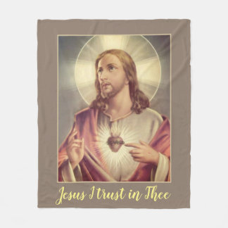 Jesus I trust in Thee Sacred Heart Fleece Blanket