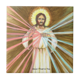 Jesus I Trust in You Small Ceramic Tile