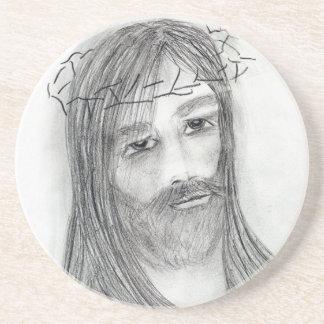 jesus in agony sandstone coaster