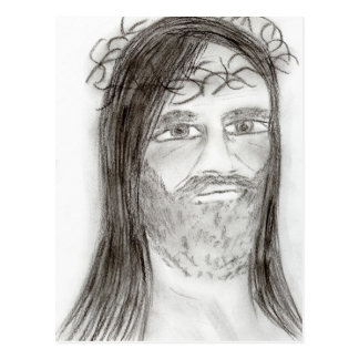 Jesus in Charcoal Postcard