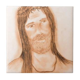 Jesus in the Light Small Square Tile