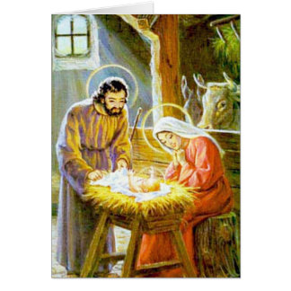 Jesus In The Manger Christmas Nativity Card