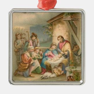 Jesus In The Manger Metal Ornament