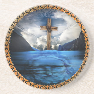 Jesus in the ocean with a wooded cross coaster