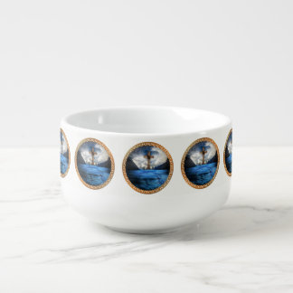 Jesus in the ocean with a wooded cross soup mug