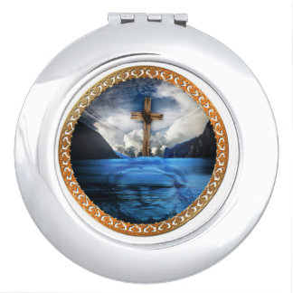 Jesus in the ocean with a wooded cross travel mirror