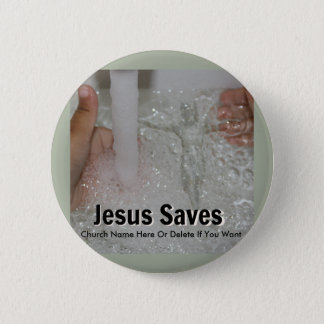 Jesus In Water With Two Thumbs Up Church Promotion 6 Cm Round Badge