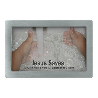 Jesus In Water With Two Thumbs Up Church Promotion Belt Buckle
