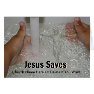 Jesus In Water With Two Thumbs Up Church Promotion Card