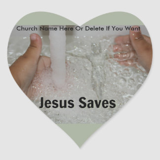 Jesus In Water With Two Thumbs Up Church Promotion Heart Sticker