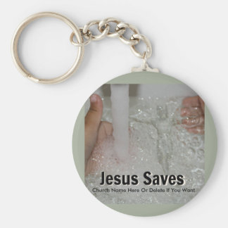 Jesus In Water With Two Thumbs Up Church Promotion Key Ring