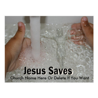Jesus In Water With Two Thumbs Up Church Promotion Postcard
