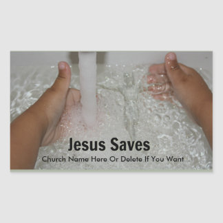 Jesus In Water With Two Thumbs Up Church Promotion Rectangular Sticker