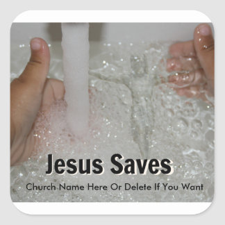 Jesus In Water With Two Thumbs Up Church Promotion Square Sticker