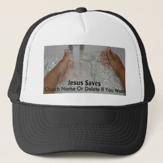Jesus In Water With Two Thumbs Up Church Promotion Trucker Hat