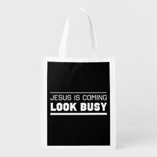 Jesus Is Coming Look Busy Reusable Grocery Bag