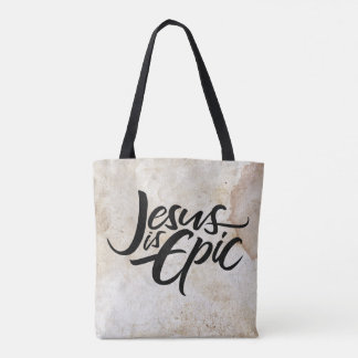 Jesus is Epic Lettering Religious Calligraphy Tote Bag