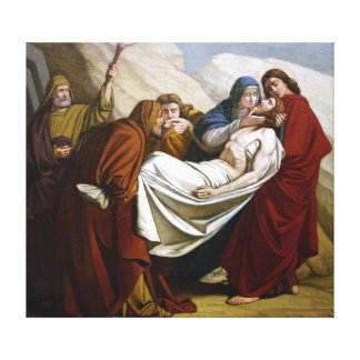 Jesus is Laid in the Tomb Stations of the Cross 14 Canvas Print