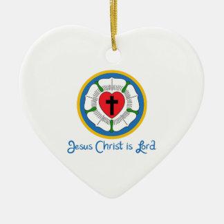 JESUS IS LORD CERAMIC HEART DECORATION