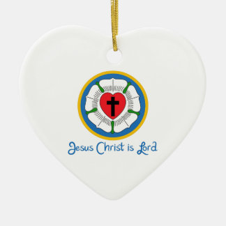 JESUS IS LORD CERAMIC HEART DECORATION
