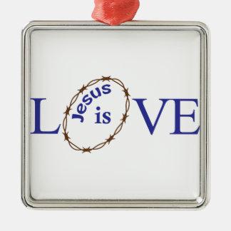 Jesus Is Love Silver-Colored Square Decoration