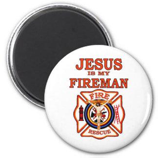 JESUS IS MY FIREMAN 6 CM ROUND MAGNET