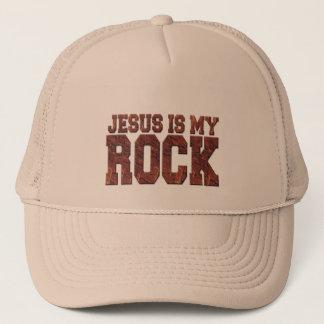 JESUS IS MY ROCK TRUCKER HAT