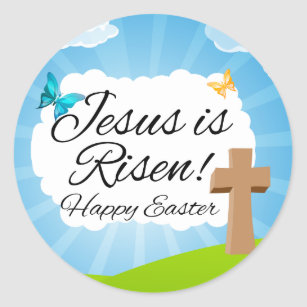 Jesus easter gifts on zazzle au jesus is risen christian easter classic round sticker negle Gallery