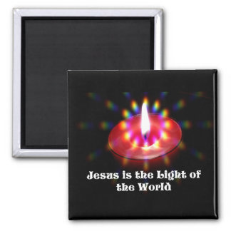 Jesus Is The Light Of The World Red Candle Magnet