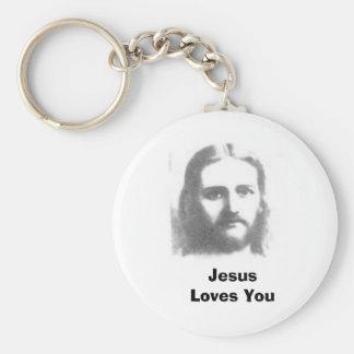 jesus, Jesus Loves You Basic Round Button Key Ring