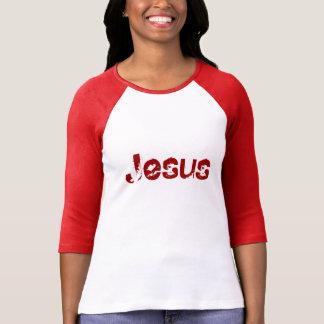 """Jesus"" Ladies 3/4 Sleeve Raglan White/Crimson Shirt"