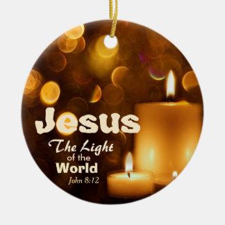 Jesus Light of the World Bible Verse Ornament
