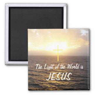 Jesus-Light of the World Square Magnet